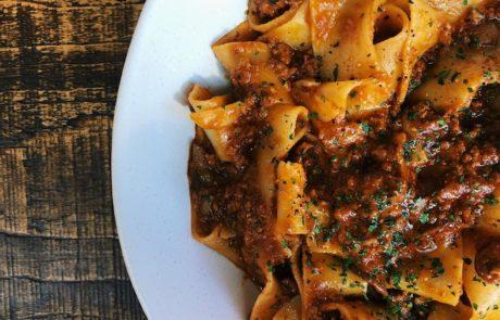 Fresh pappardelle bolognese Italian fresh pasta restaurant Aldgate
