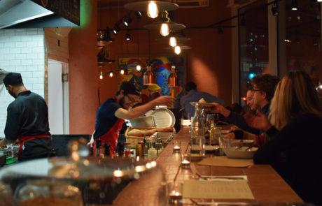 Aldgate Italian pasta restaurant atmosphere